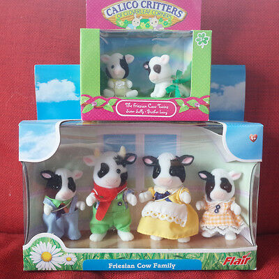 Calico Critters Sylvanian Families FRIESIAN COW FAMILY & TWINS Bandle