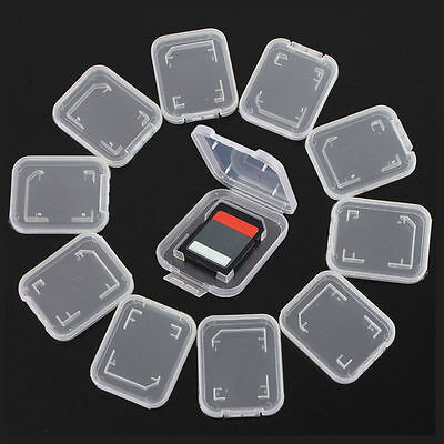 10PCS Plastic Transparent Standard SD SDHC Memory Card Case Holder Box Storage