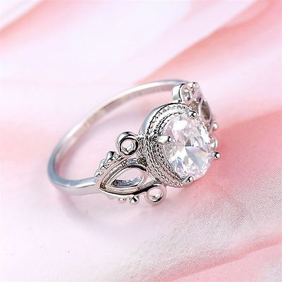 Vintage Party Women Fashion Jewelry White Topaz Finger Ring Gift Silver
