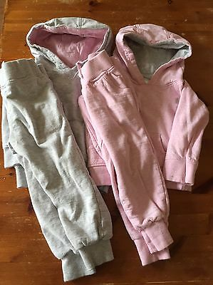 girls tracksuits age 2 years pink and grey