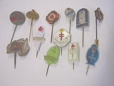 12 Vintage Appeal Badge Pins Anzac Day Legacy Red Cross Myrtle Bank Russia