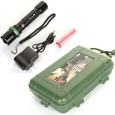 Zoomable CREE LED Flashlight Torch Light+18650 Battery+Hammer+Charger+Carry Box