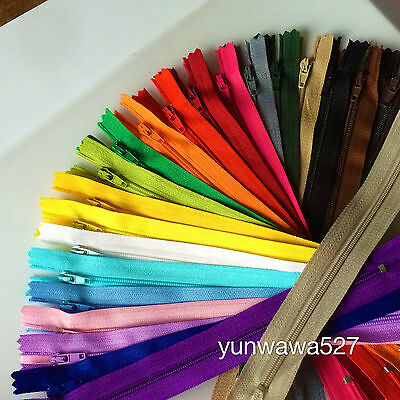 5~500pcs Nylon Coil Zippers Tailor Sewer Craft (8-16 Inch) Crafter's &FGDQRS