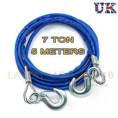 7 Tonne 5M Tow Car Ropes Heavy Duty Pull Steel Wire Van Metal Road Recovery Hook