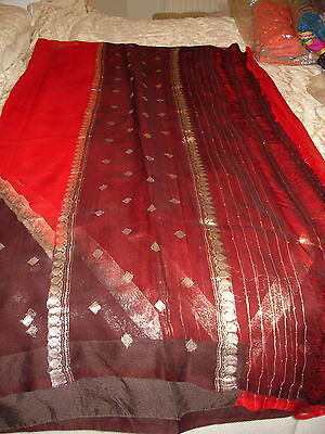 Ladies / Girls Maysore Silk Chiffon Blood Red & Brown Saree With Silver Work