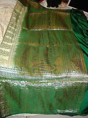 Bn Ladies Green & Gold Banarsee Saree With Heavy Border With Blouse Piece