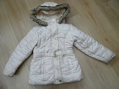 Girls Age 5-6 Years Winter Coat With Faux Fur Hood Golden Leopard Print