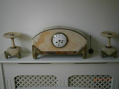 Art Nouveau Marble Clock Set with French Movement Very Heavy