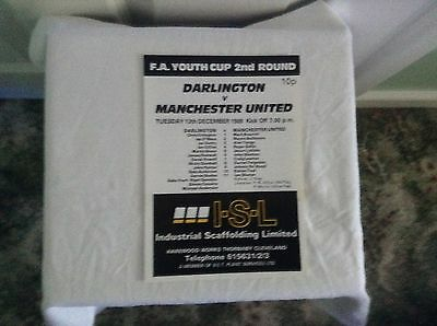 YOUTH CUP PROGRAM:-   DARLINGTON YOUTH. v. MANCHESTER UNITED YOUTH 1988/89..