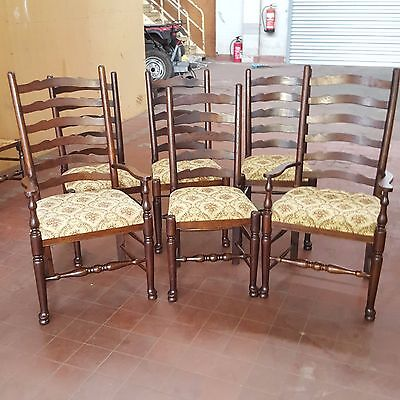 Antique/reproduction Oak Set Of 4+2 Rustic Farmhouse Ladder High Back Chairs