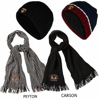 Mens Womens Embroided Scarf Cap Set Unisex Fleece Knitted Lined Winter Warm