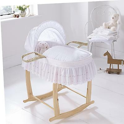 Clair de Lune Pure White Chic Broderie Anglaise Palm Moses Basket