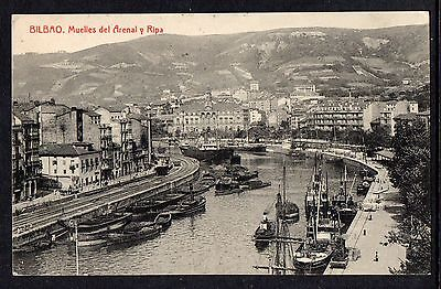 BILBAO = Muelles del Arenal y Ripa. Mailed 1919 to TANGERMUNDE, Germany.