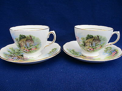 "Royal Vale Bone China ""country Cottage""  2  X   Cups & Saucers"