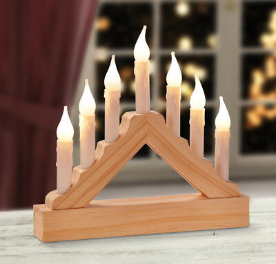 7 Lights Wooden Candle Bridge Arch Window Christmas Tree Decoration Xmas Light