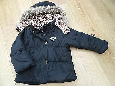 Girls London Fog Age 3 Black Winter Coat With Leopard Print Faux Fur Hood