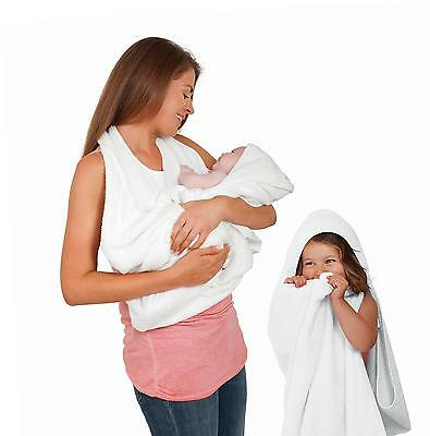 Clevamama Splash and Wrap 100% Soft & Gentle Cotton Baby Bath Towel (White)