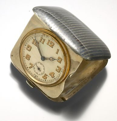 Art Deco Silver Niello Case Miniature Travel Clock CA.1920