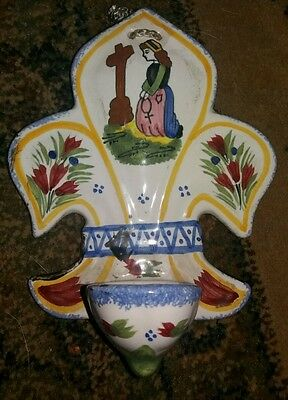 Henriot Quimper France Holy Water Stoop- Mary &child - Majolica C.1920