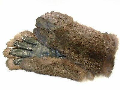 Black Leather and Brown Real Fur Gloves/Gauntlets