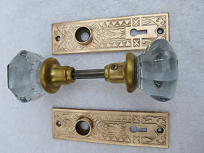 Vintage Art Deco/Nouveau brass/bronze 2 door plates w/ two 8-pt knobs - Set #21
