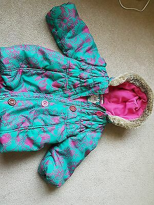 Marks and Spencers Green Pink Girls Coat Age 2-3 Years Hooded Winter