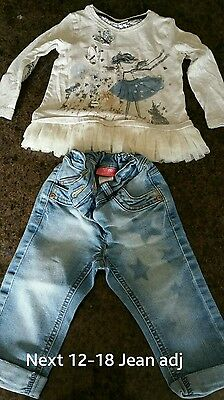 Girls outfit Next 12-18m Jeans and tulle trim top excellent condition