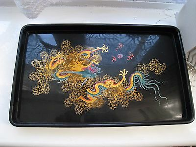 Vintage Black Lacquered Chinese Hand Painted Wooden Tray