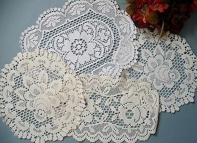 Vintage French style lace round centerpieces/ doilies ( lot of 4)