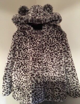 Marks & Spencer Girls Faux Fur Coat With Hood In Animal Print