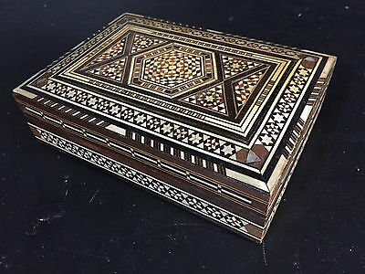 vintage Premium Quality Orient-Syrian Handmade Mosaic Inlay Wood Jewelry box • CAD $50.39