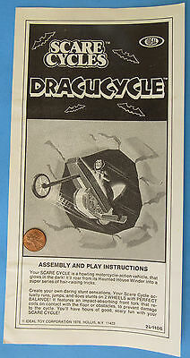 INSTRUCTION SHEET '78 vtg DRACUCYLE Scare Cycles Dracula IDEAL Motorcycle