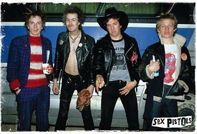 """Sex Pistols Group Photo in Front of Tour Bus US Tour 1978 Poster  24"""" x 36"""""""