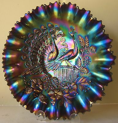 Northwood Carnival Glass Peacocks On The Fence Amethyst PCE bowl - ELECTRIC