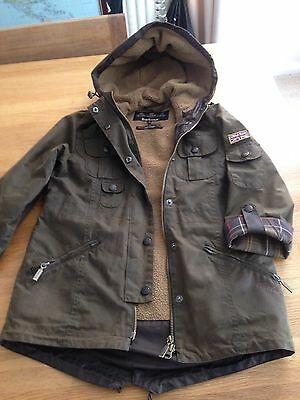 Girls Wax Barbour Winter Force Parka Fleece Lined Jacket Coat Age 8 / 9 Olive