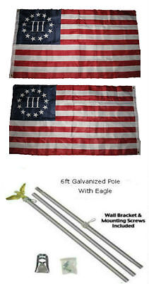 3x5 Betsy Ross Nyberg 3% Percent 2ply Flag Galvanized Pole Kit Eagle Top 3'x5'