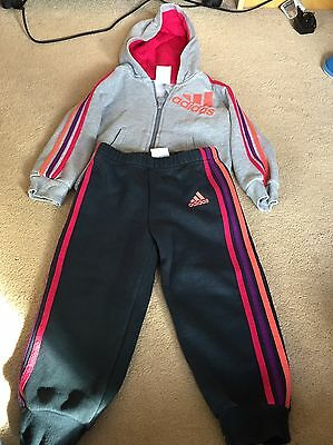 Adidas Tracksuit 18-24 Months Girls Toddler Zip Up And Pants