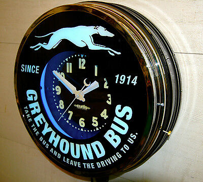 """A 22"""" Greyhound Bus Depot, Window,Neon Advertising  clock. by Curtis"""