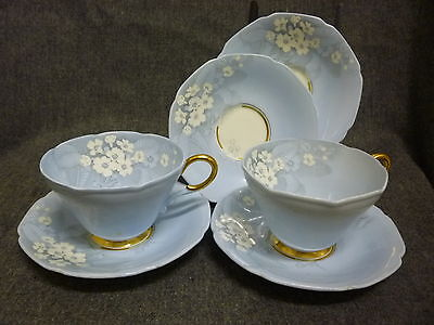 2 Antique Paragon By Appointment Primula Babble Cups & Saucers Set +extra
