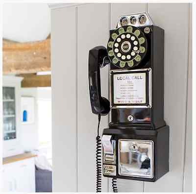 Retro Vintage Corded Diner American Black 1950s Old Dial Wall Mount Telephone