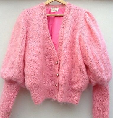 Vintage 1970S/1980S Handmade By Cora Pink Mohiar Cardigan. Size M/l