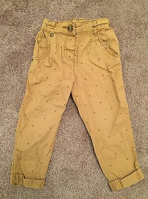 Next Baby Girls Jeans Trousers Age 12-18 Months Beige Stars