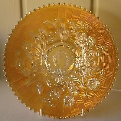 "Northwood Carnival Glass Marigold Good Luck 9"" plate early Variant piece"
