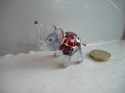 Elephant - Beautiful Coloured Glass - Red, White, Grey/green And Gold, Miniature