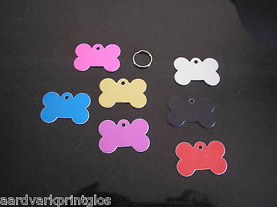 Pet Tag - Dog Bone Identity Tag -  With Engraving And Split Ring Free P&p