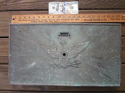 Rare Large Bronze Eagle Post Office Door Super Graphic Circa 1910 Yale 22X12 1/4
