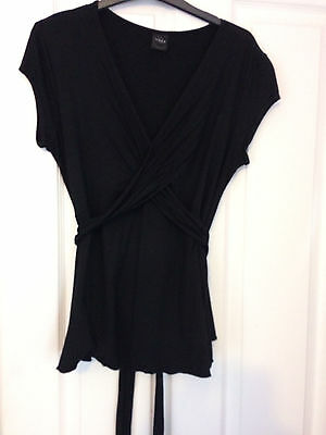 Black Maternity top crossover & tie back size 14