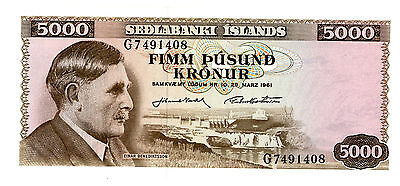 Iceland … P-147 … 5,000 Kronor … 1961 … *UNC*
