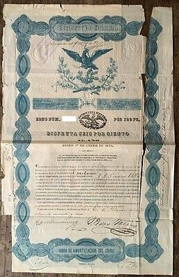 Mexico Mexican 1845 BLACK EAGLE Tesorería General 100 Pesos Coups RARE Bond Loan