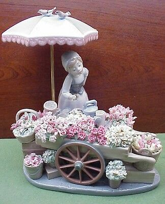 Lladro Figurine, 1454 Flowers of the Season Girl with Flower Cart
